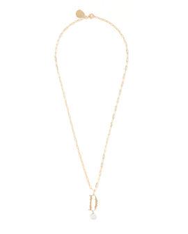 D Letter pearl-embellished necklace