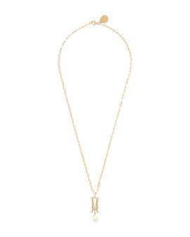 M Letter pearl-embellished necklace