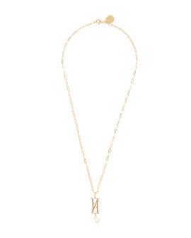 N Letter pearl-embellished necklace