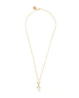 X Letter pearl-embellished necklace