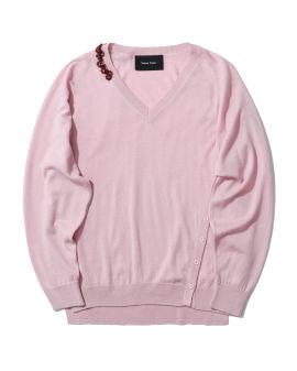 Beaded V-neck sweater