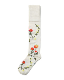 Floral intarsia long socks