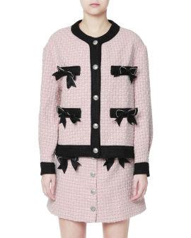 Bow embellished tweed jacket