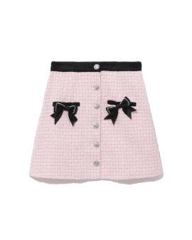 Bow embellished tweed skirt