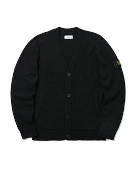 Logo patch wool blend cardigan