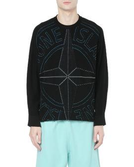 Graphic instarsia knit sweater