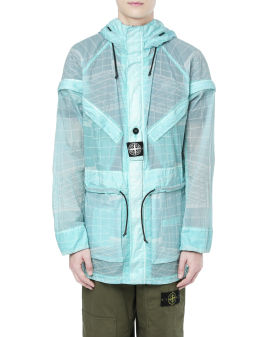 Poly grid hooded overcoat