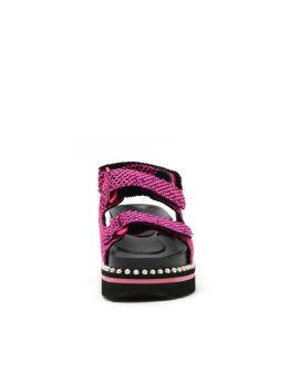 Fabric back strap platform sandals