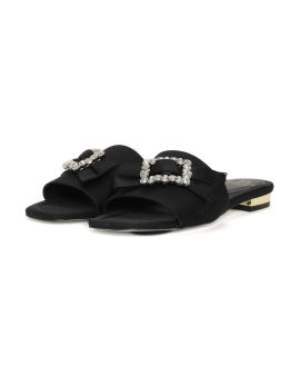 Jewel bow slide sandals
