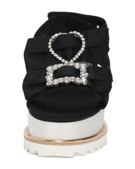 Jewel bow platform sandals