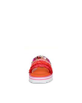 Ruffle detailed slip on sandals