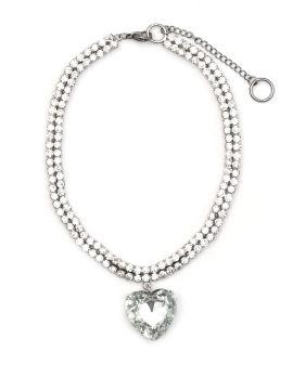 Strass embellished heart pendant necklace