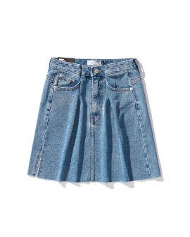 Gathered denim skirt