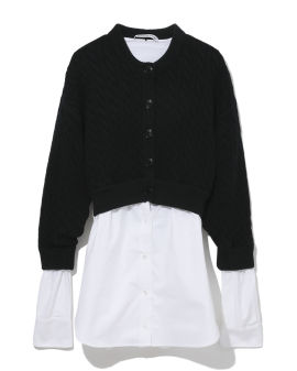 Spliced shirt and cardigan