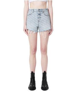 Monogram print denim shorts