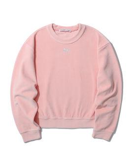 Crystal logo velour sweater