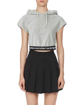 Long-sleeve hoodie in stretch corduroy
