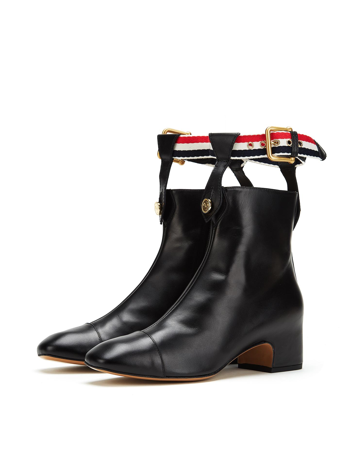 Tri-Colour Strap Ankle Boots