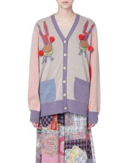 Pom pom embellished panelled cardigan