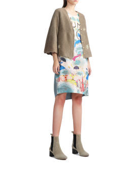 Panelled printed dress