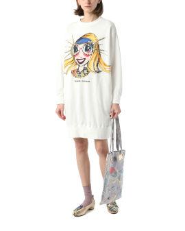 Printed sweater mini dress