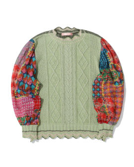 Panelled cable-knit top