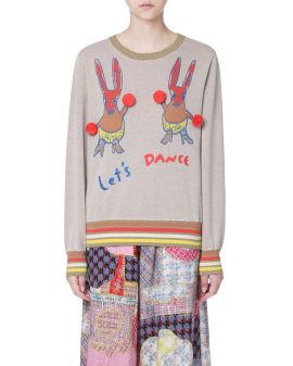 Pom Pom embellished jaquard sweater
