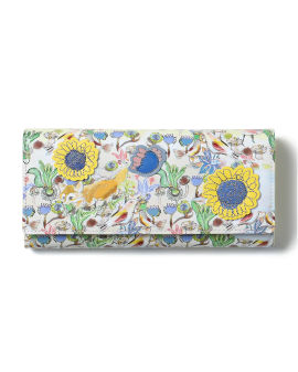 Graphic print leather long wallet