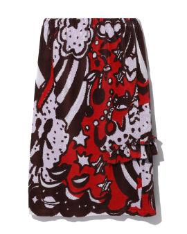 Graphic intarsia skirt