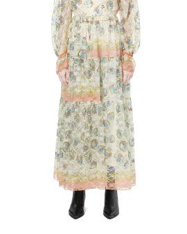 Reversible printed lace skirt