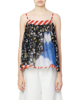 Shoulder strap animal print blouse
