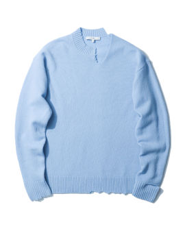 Wool cut-out neck band sweater