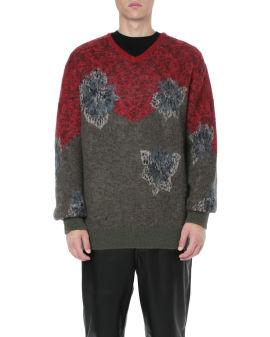 Flower jacquard sweater
