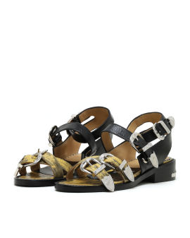 Embossed patent buckle sandals