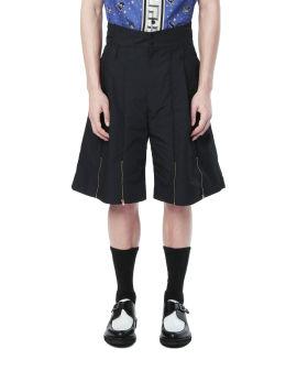 Zipper flared high-waist shorts