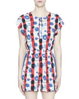 Floral print stripe jumpsuits