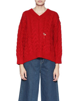 Distressed cable knit jumper