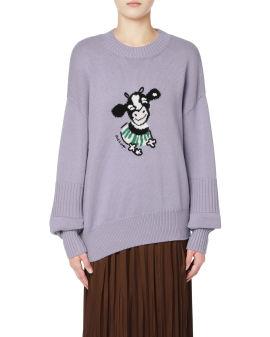 Asymmetrical intarsia knit sweater