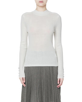 Button embellished cuff sweater