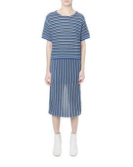 Stripe knit sweater and skirt set