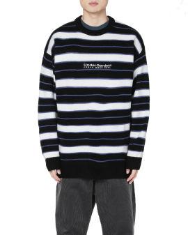 Intarsia knit striped sweater