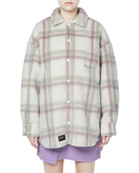 Fuzzy plaid jacket