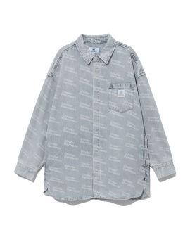 Monogram print denim shirt