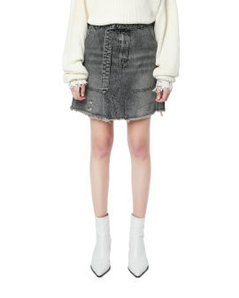 Moonwash distressed denim skirt