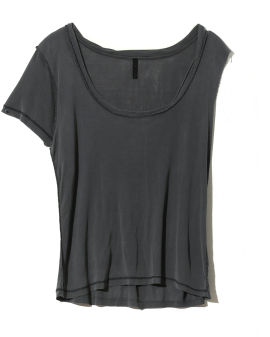 Distressed inside out detail asymmetric T-shirt