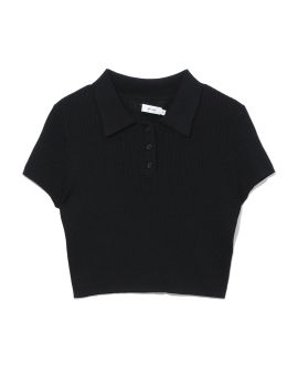 Cropped ribbed polo top