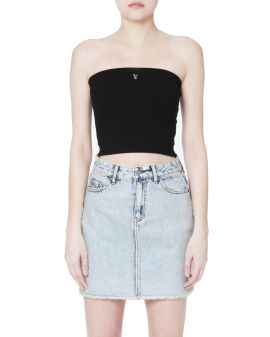 Embroidered strapless tank top
