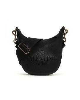 Logo debossed leather crossbody bag