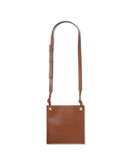 Logo embossed leather crossbody bag