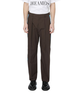 Side stripe pleated trousers